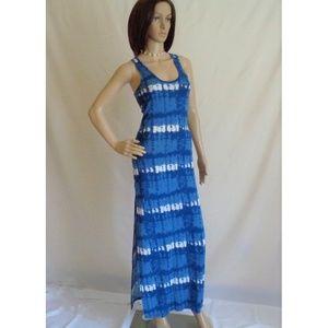 Blue tie dye print maxi, racer back, side slits.
